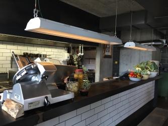Reclaimed Kitchen pass lighting