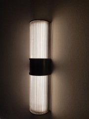Reeded glass wall light